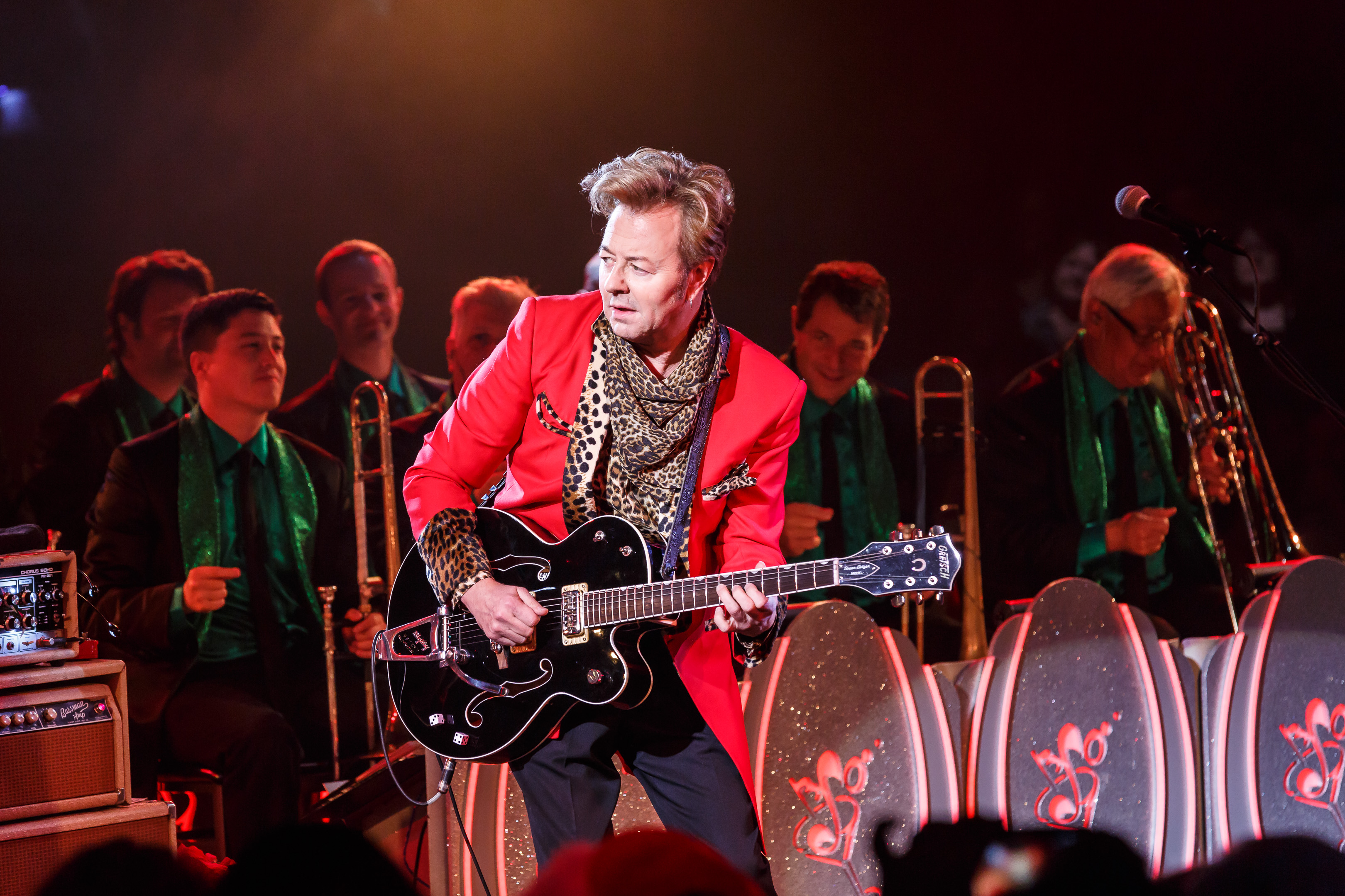 the brian setzer orchestra with beat root revival beneath a desert sky. Black Bedroom Furniture Sets. Home Design Ideas
