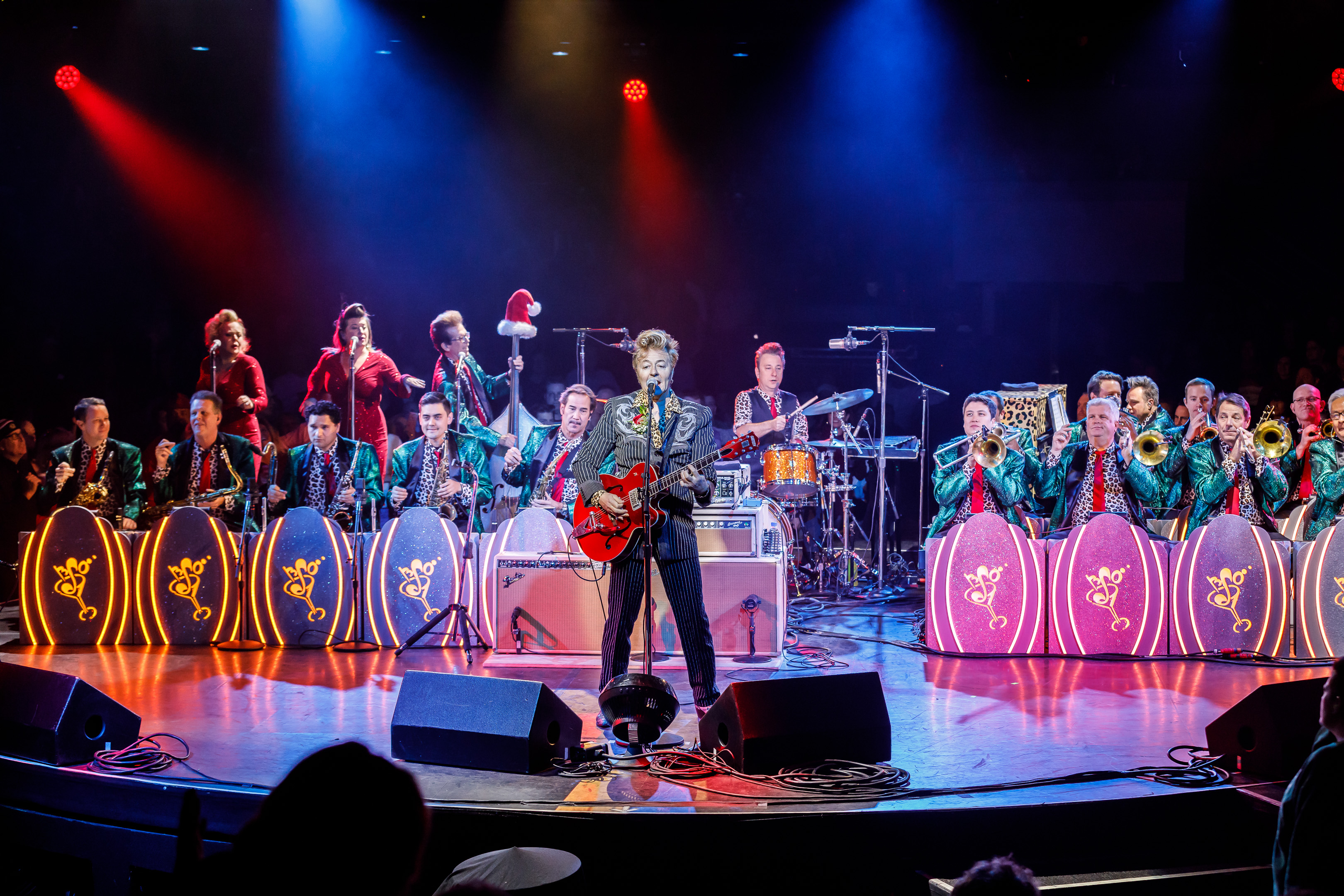 brian setzer brings his orchestra to celebrity theatre for a rockabilly christmas party. Black Bedroom Furniture Sets. Home Design Ideas